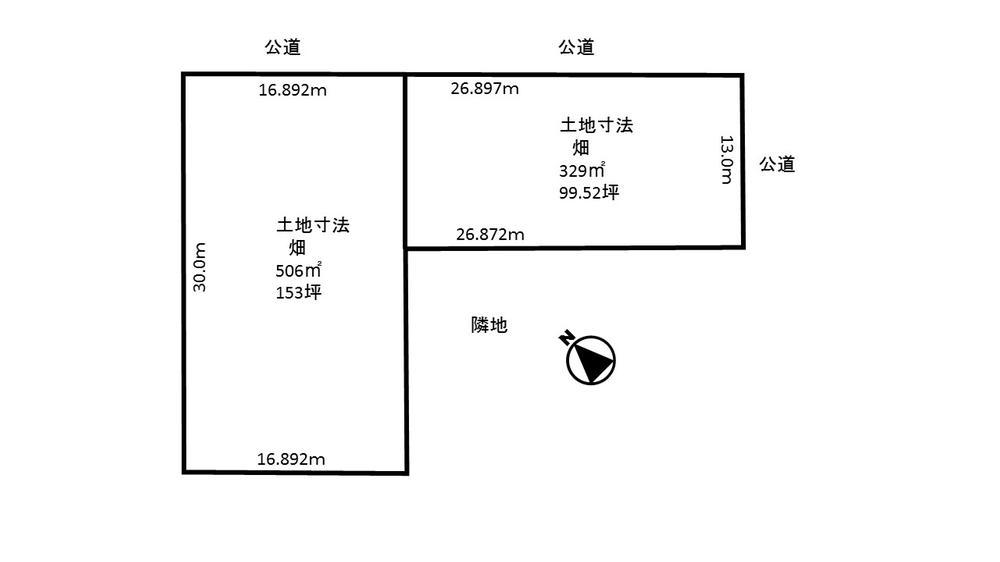 土地価格410万円、土地面積506m<sup>2</sup> 506m<sup>2</sup>区画です