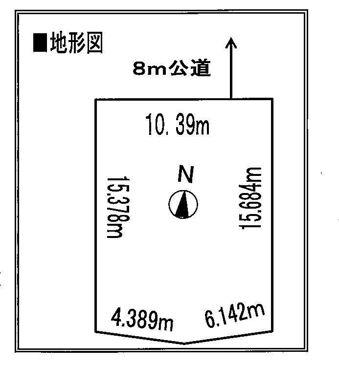 土地価格100万円、土地面積165.67m<sup>2</sup> 地型図