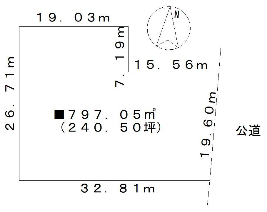 土地価格300万円、土地面積795.07m<sup>2</sup>