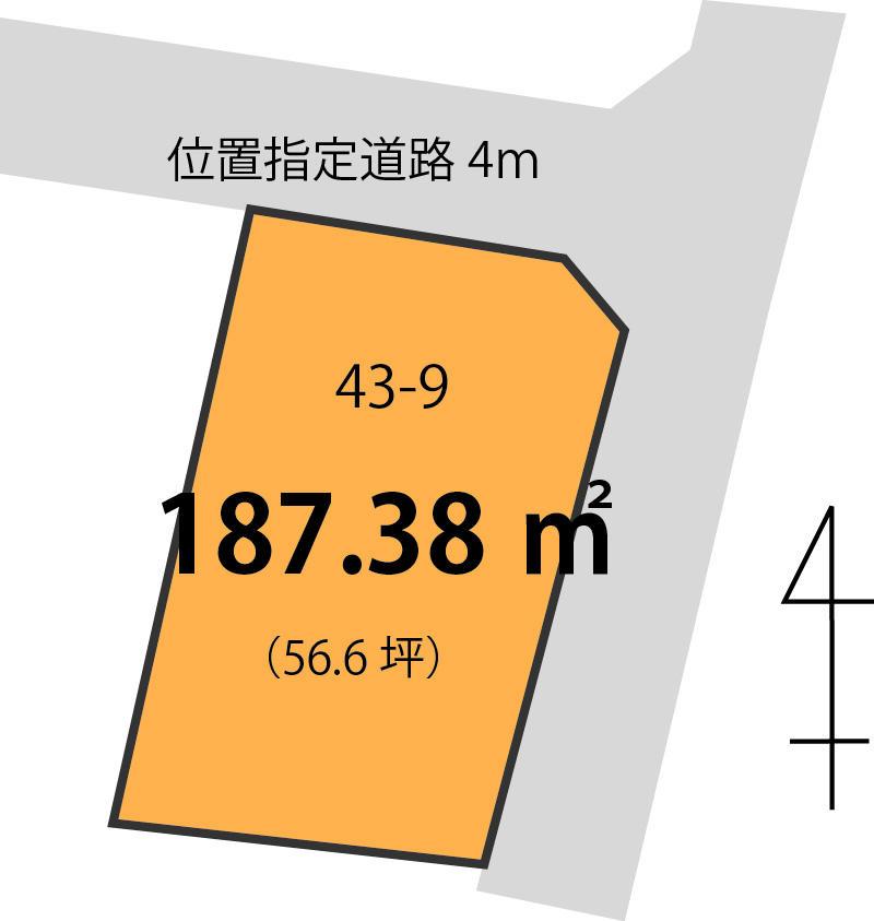 土地価格672万円、土地面積187.38m<sup>2</sup>