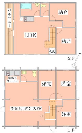 3450万円、3LDK+2S(納戸)、土地面積364.06m<sup>2</sup>、建物面積164.39m<sup>2</sup> 間取り図