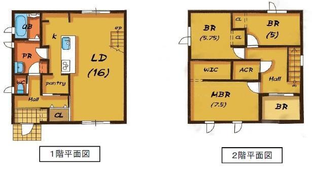 建物プラン例 3LDK 建物価格1620万円、建物面積105.98m<sup>2</sup>