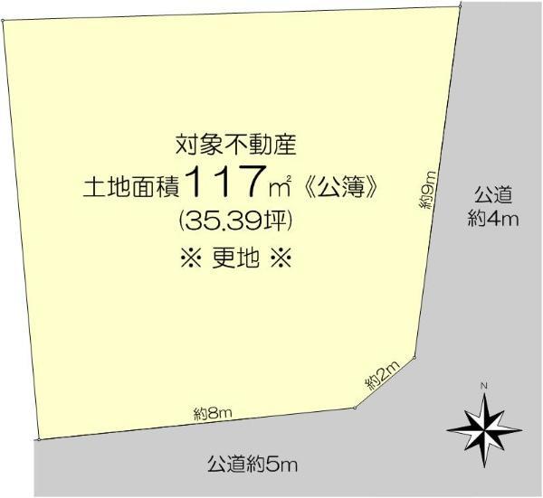 土地価格250万円、土地面積117m<sup>2</sup>