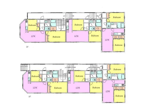 4億円、5LDK、土地面積693.69m<sup>2</sup>、建物面積594.41m<sup>2</sup> アパートの間取り図です。