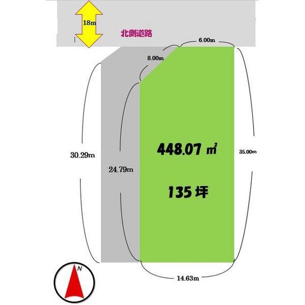 土地価格1220万円、土地面積448.07m<sup>2</sup>