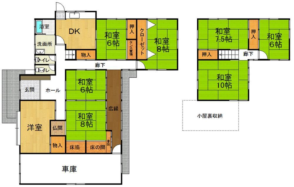 2300万円、8DK、土地面積498.69m<sup>2</sup>、建物面積193.4m<sup>2</sup>