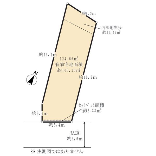 土地価格3750万円、土地面積124.66m<sup>2</sup> 土地面積124.66m2です。