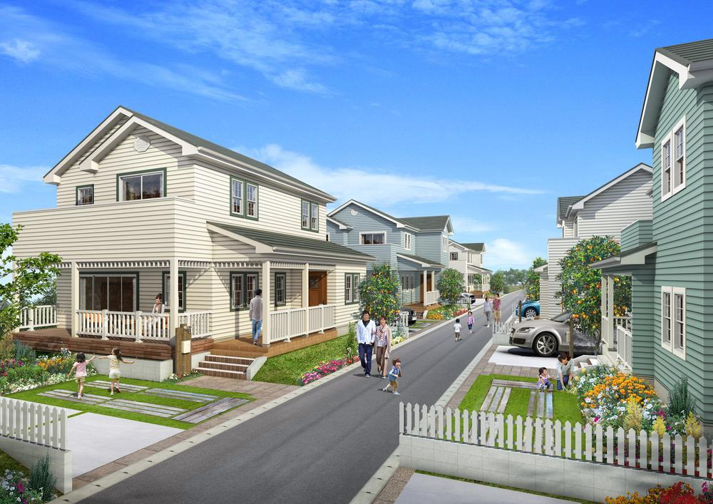 完成予想図(外観)<BR>◆ラップサイディングを採用したアメリカンな外観の家が建ち並ぶ。各邸の庭には果実のなる樹を。街区内道路の幅を十分に確保することで広がり感のあるオープンエアスペースを確保しました。