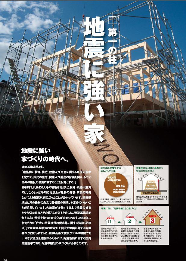 耐震等級3 建築基準法が想定する地震の1.5倍の地震を想定した基準の家造り。耐震性に関する国内最高級。<BR>木材使用と専用金具の組み合わせで耐震耐久性に優れたJWOOD工法で家を建築しております。