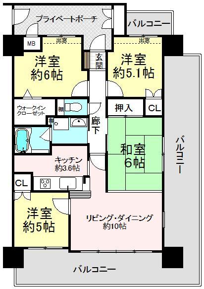 4LDK、価格1890万円、専有面積72.8m<sup>2</sup>、バルコニー面積35.69m<sup>2</sup>