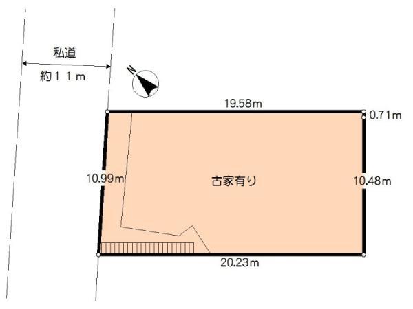 土地価格4800万円、土地面積218.18m<sup>2</sup> 区画図