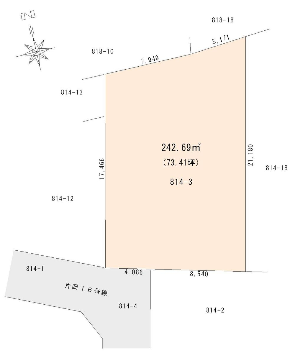 土地価格700万円、土地面積242.69m<sup>2</sup> 区画図