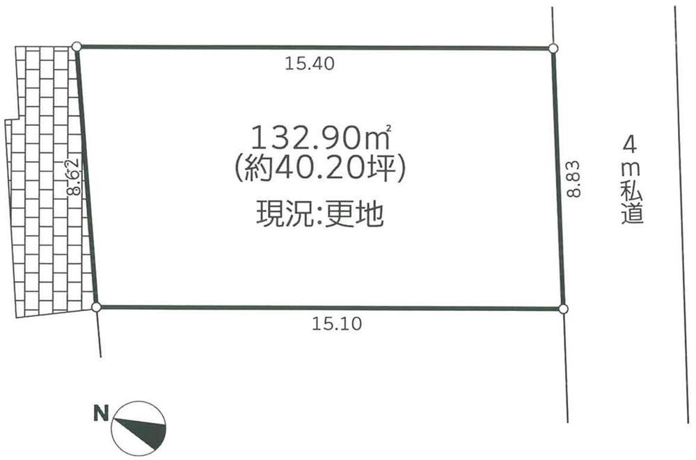 土地価格160万円、土地面積132.9m<sup>2</sup>