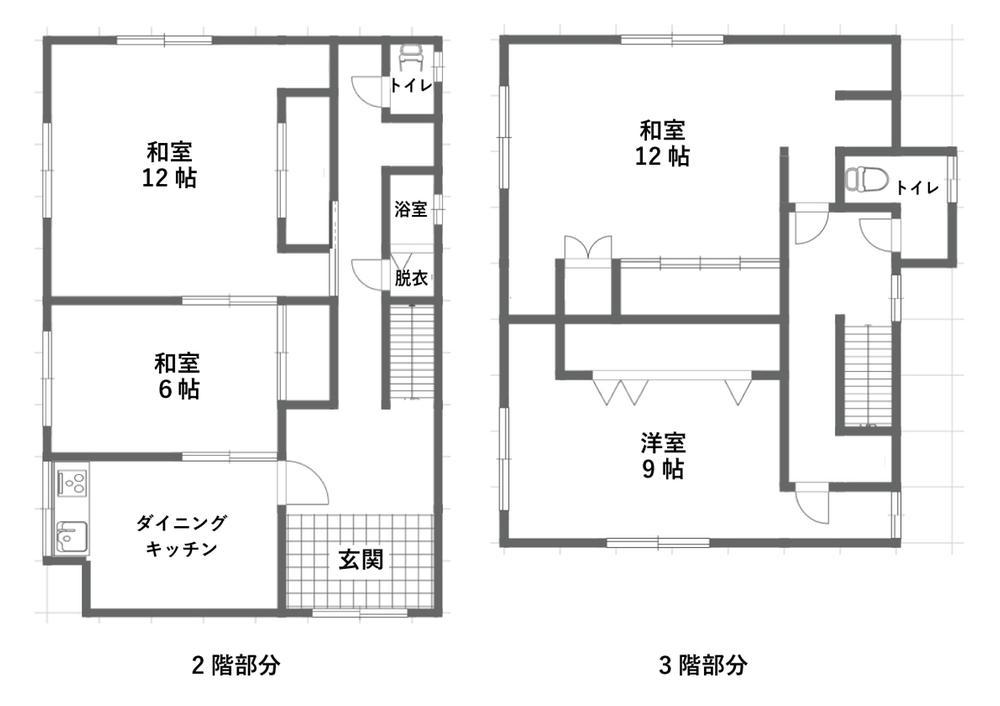 290万円、7DK、土地面積132.23m<sup>2</sup>、建物面積191m<sup>2</sup> 2階・3階間取り
