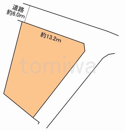 土地価格360万円、土地面積196.04m<sup>2</sup> 概測図