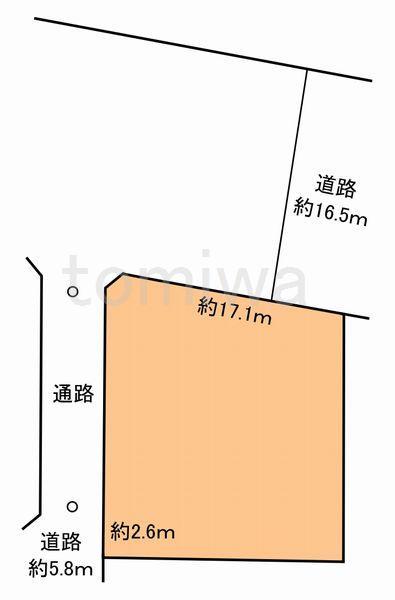土地価格1453万円、土地面積228.83m<sup>2</sup> 概測図