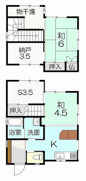 2060万円、2K+S(納戸)、土地面積62.71m<sup>2</sup>、建物面積61.77m<sup>2</sup> 間取図