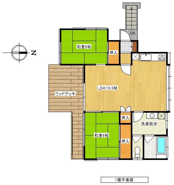 750万円、2LDK、土地面積966m<sup>2</sup>、建物面積62.54m<sup>2</sup> 間取り図