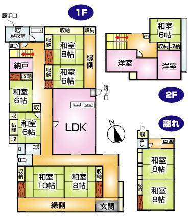 2980万円、11LDK、土地面積1,021m<sup>2</sup>、建物面積283.62m<sup>2</sup> 9LDKと2Kの離れ。