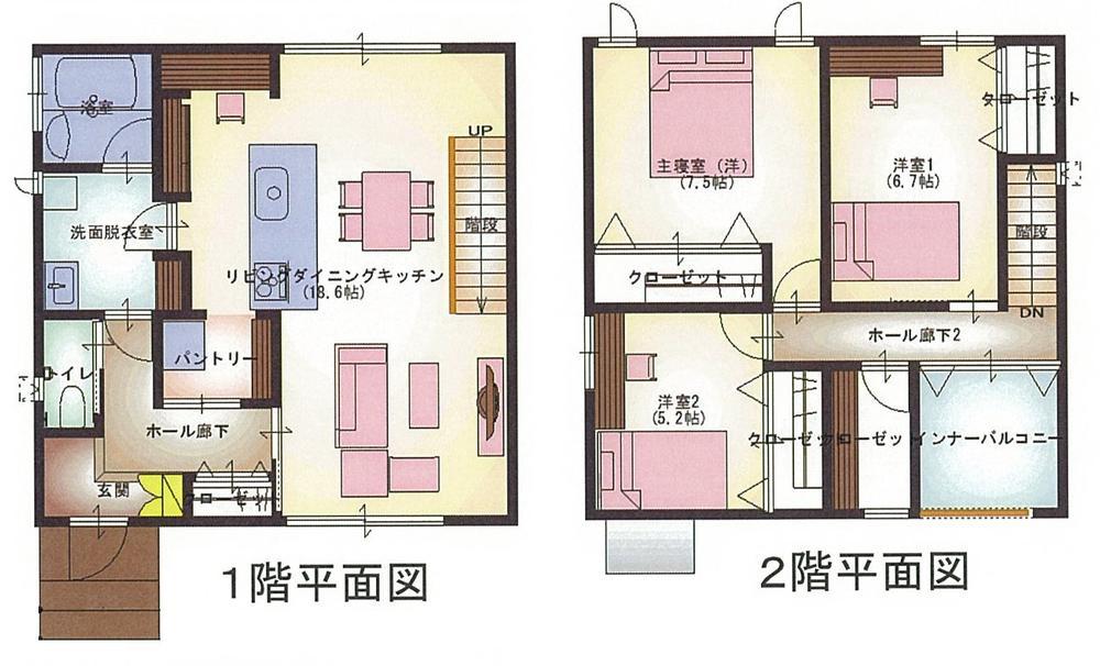 2850万円、3LDK、土地面積313.29m<sup>2</sup>、建物面積105.98m<sup>2</sup> 間取り