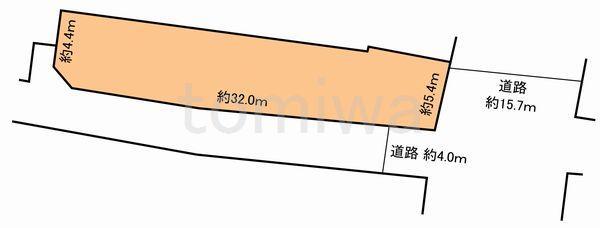 土地価格400万円、土地面積143.23m<sup>2</sup> 概測図