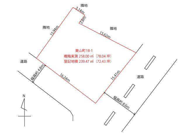 土地価格360万円、土地面積239.47m<sup>2</sup> 土地詳細図