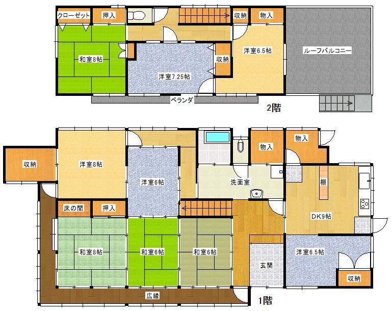 1800万円、9DK+2S(納戸)、土地面積379.02m<sup>2</sup>、建物面積151.73m<sup>2</sup>
