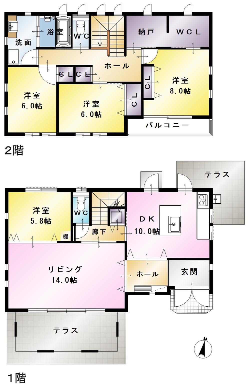 7980万円、4LDK+S(納戸)、土地面積221.39m<sup>2</sup>、建物面積131.02m<sup>2</sup>