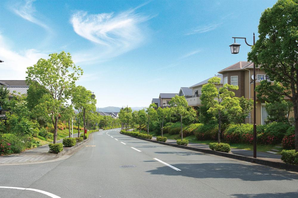 分譲地街並み。緑あふれる、豊かな住環境。