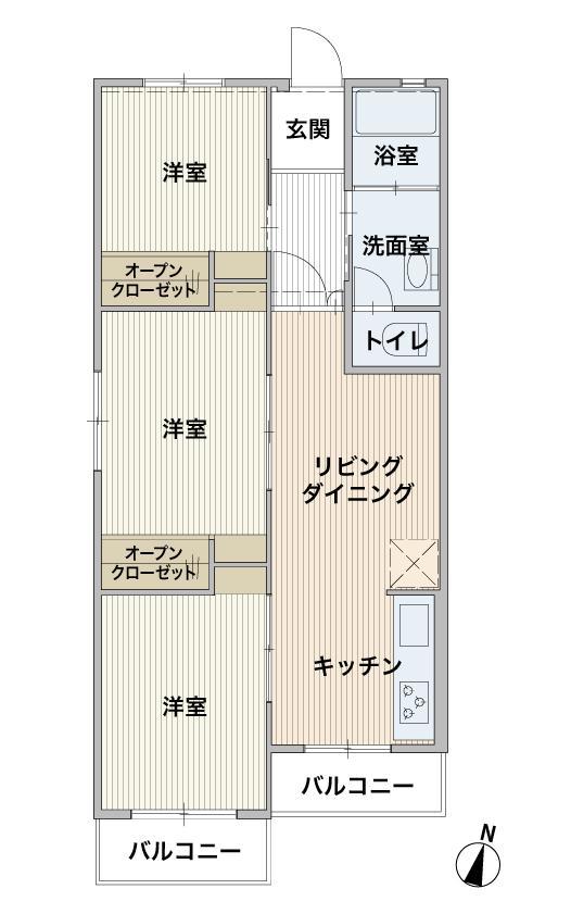 3LDK、価格1040万円、専有面積71m<sup>2</sup>、バルコニー面積7m<sup>2</sup>