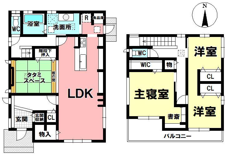 4380万円、3LDK、土地面積191.36m<sup>2</sup>、建物面積123.64m<sup>2</sup> ☆間取り図☆<BR>2階洋室は仕切って2部屋にしてもGOOD♪