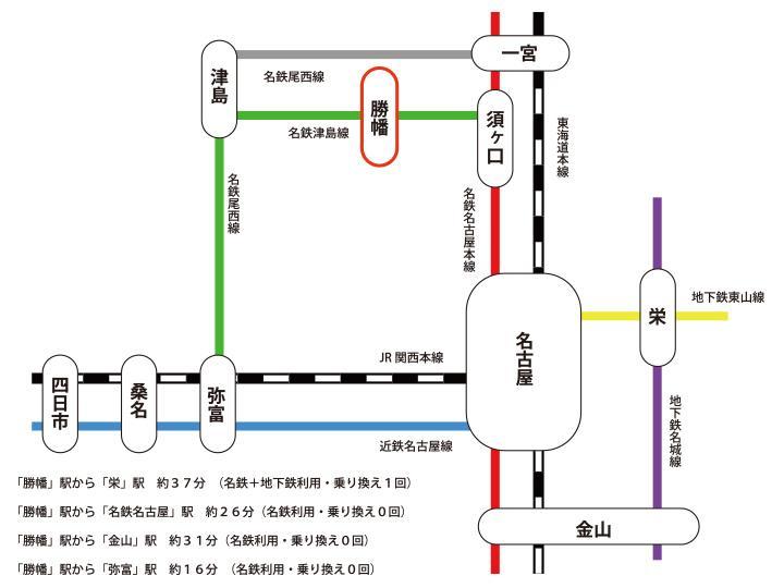 直通で名鉄名古屋・金山駅に行けます。