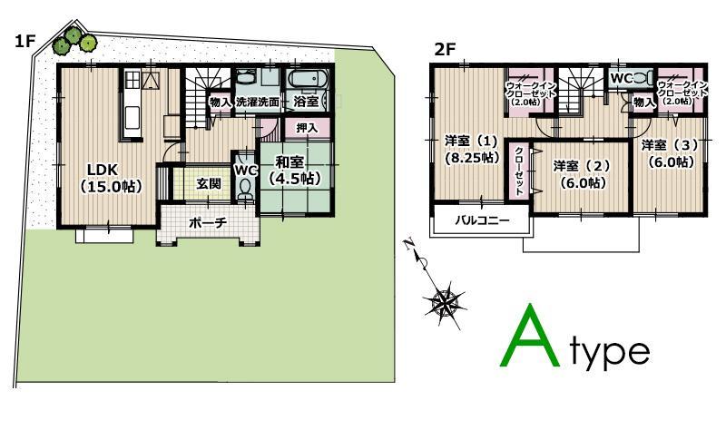 (A(現代和風プラン))、価格2930万円、4LDK、土地面積168.29m<sup>2</sup>、建物面積107.66m<sup>2</sup>