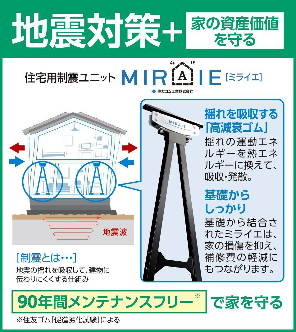 耐震等級3の最高等級+制振装置【MIRAIE】を搭載した長期優良住宅です!