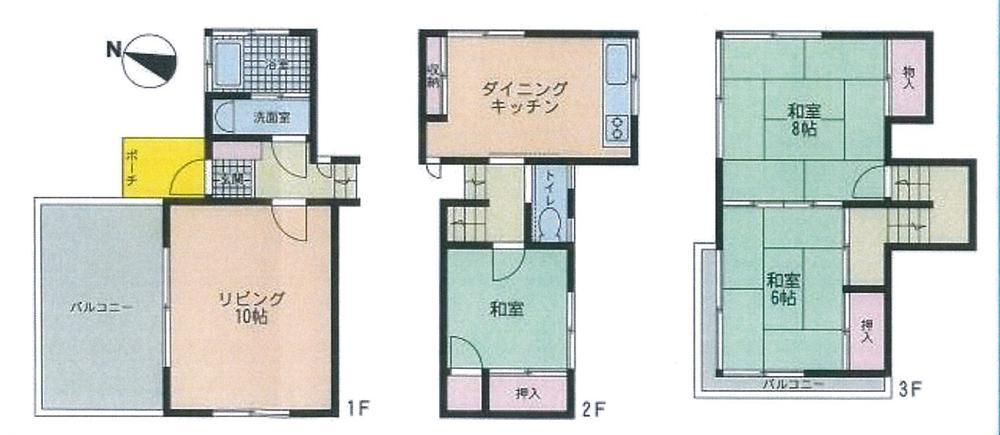 780万円、3LDK、土地面積291m<sup>2</sup>、建物面積77m<sup>2</sup> 間取り図
