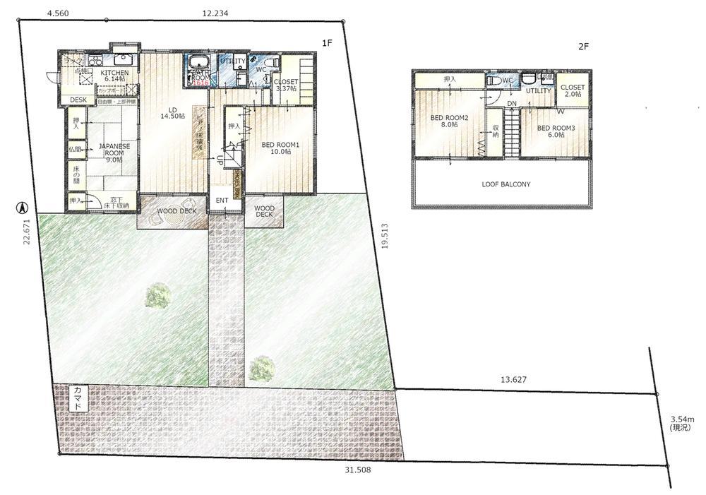 9500万円、4LDK、土地面積437.01m<sup>2</sup>、建物面積140.35m<sup>2</sup> 敷地を含めた間取り図です。広い庭があり、駐車スペースは2台以上です。