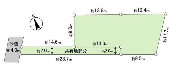 土地価格950万円、土地面積248.12m<sup>2</sup> 現地地形図