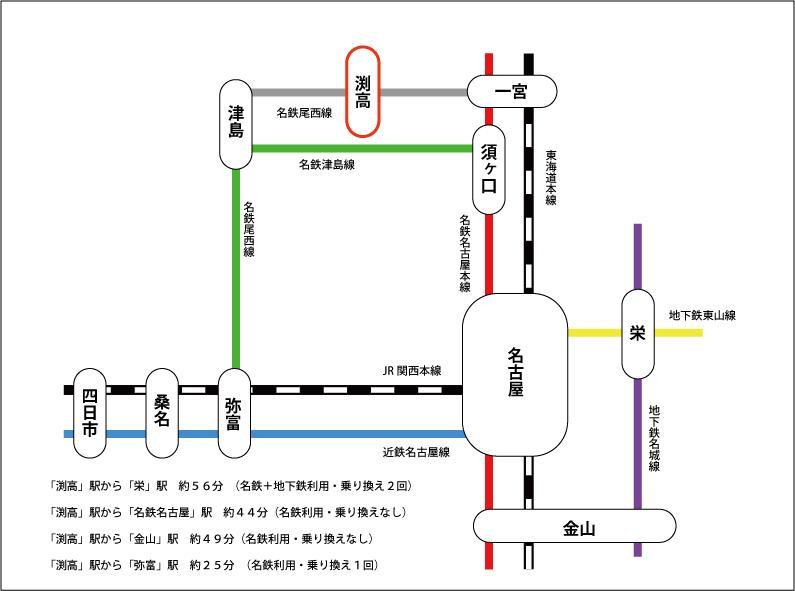 路線図です。平日朝7:30に駅に着いた場合の時間です。