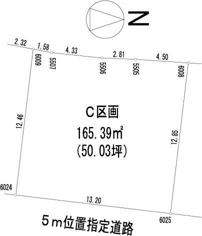 土地価格1025万円、土地面積165.39m<sup>2</sup>