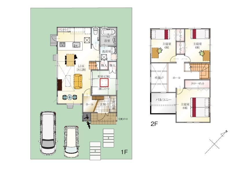 (8号地)、価格3580万3000円、4LDK、土地面積176m<sup>2</sup>、建物面積104.75m<sup>2</sup>