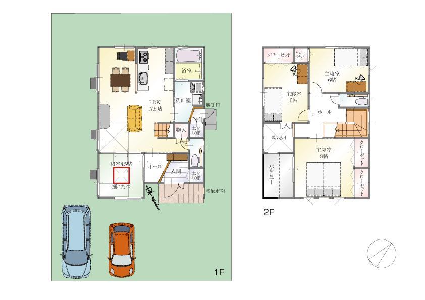 (9号地)、価格3608万3000円、4LDK、土地面積176.02m<sup>2</sup>、建物面積104.34m<sup>2</sup>