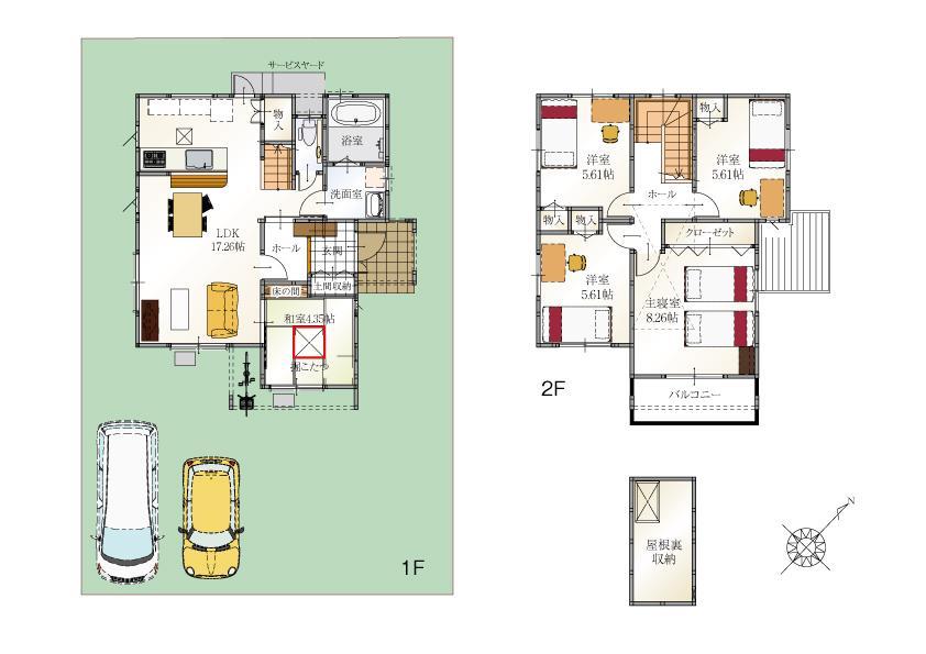 (10号地)、価格3299万円、5LDK、土地面積176.02m<sup>2</sup>、建物面積105.44m<sup>2</sup>
