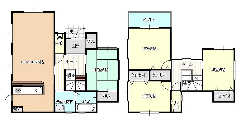 建物プラン例(1号地)4LDK、土地価格2100万円、土地面積197.78m<sup>2</sup>、建物価格1772万8000円、建物面積108.54m<sup>2</sup>