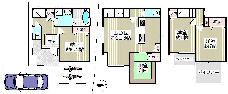 2680万円、4LDK、土地面積71.39m<sup>2</sup>、建物面積94.6m<sup>2</sup>