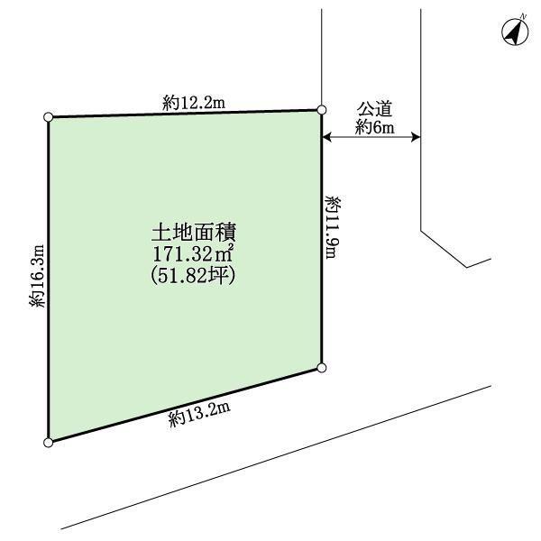 土地価格480万円、土地面積171.32m<sup>2</sup> 地型図
