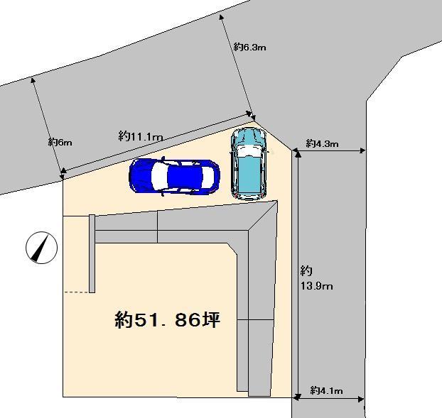 土地価格3780万円、土地面積171.47m<sup>2</sup>
