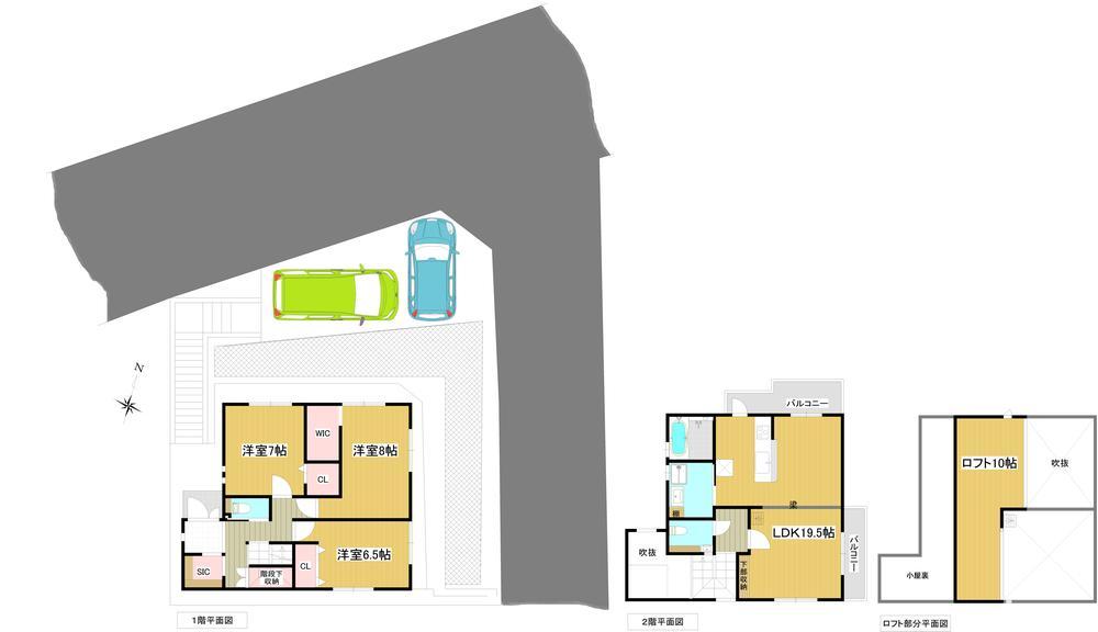 建物プラン例<BR>建物価格2500万円、<BR>建物面積105.19m<sup>2</sup>(31.81坪)