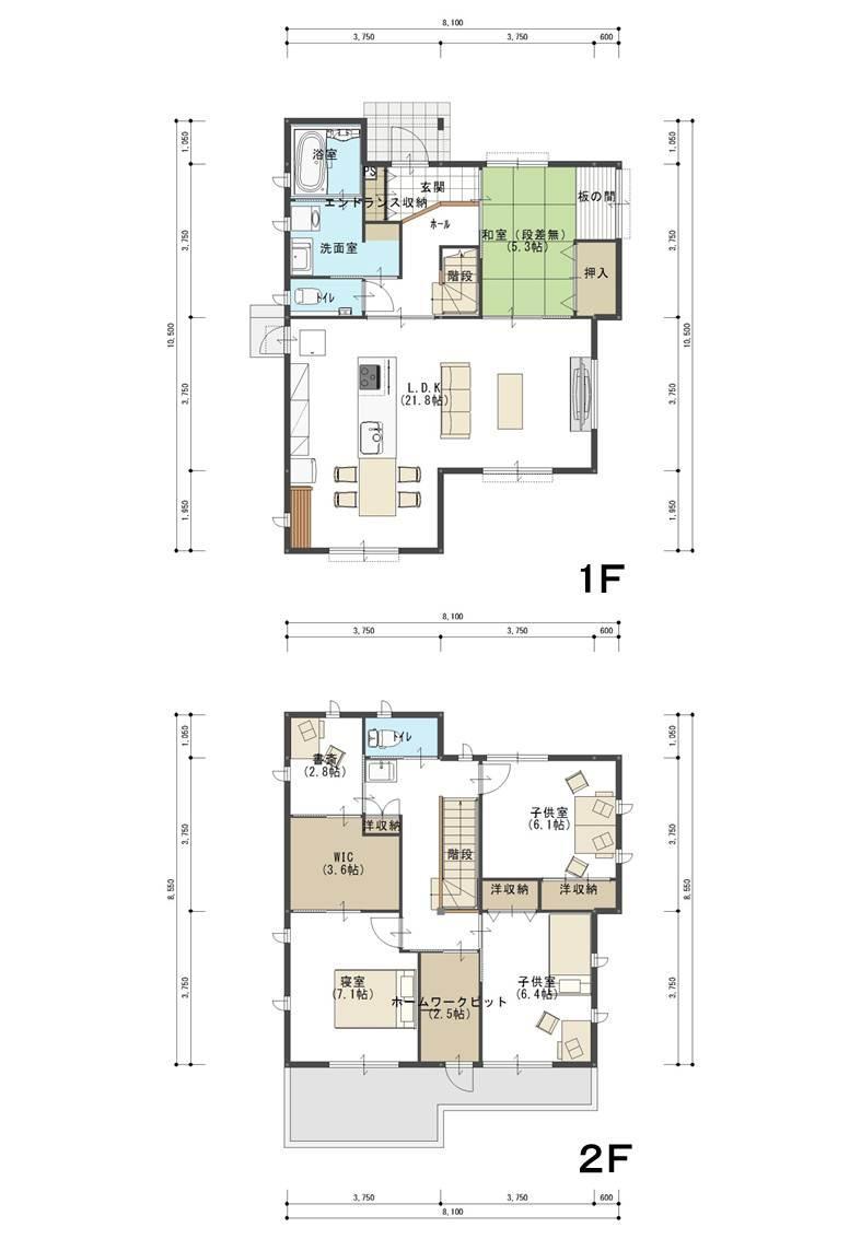 土地面積:約186.57m<sup>2</sup>(約56.43坪)<BR>建物面積:129.16m<sup>2</sup>(39.07坪)<BR>       (1F 67.29m<sup>2</sup> 2F 61.87m<sup>2</sup>)