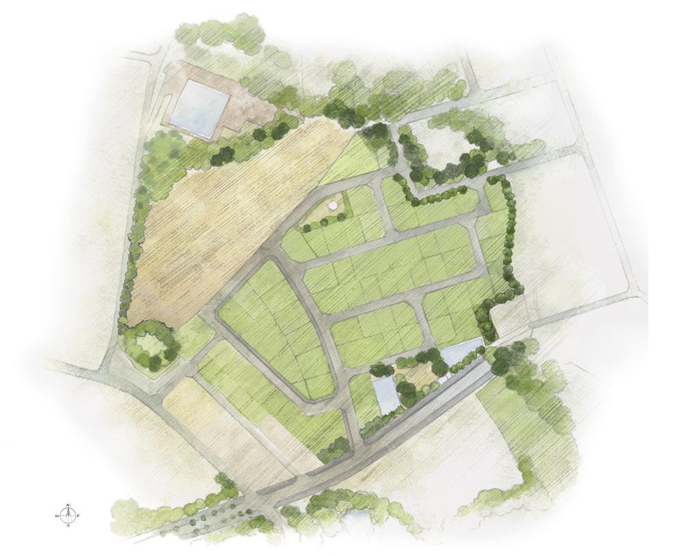 全体区画図。道路幅員は約6m以上とし、安全生に配慮し、交差点はT字路を基本としています。パーゴラや防災ベンチを配した街区内公園も確保。平均面積は80坪(265m<sup>2</sup>)超の広さですので、プランの夢も膨らみます