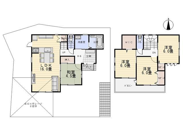建物プラン例(B号地)4LDK+S、土地価格1268万円、土地面積134.69m<sup>2</sup>、建物価格1570万円、建物面積92.57m<sup>2</sup>